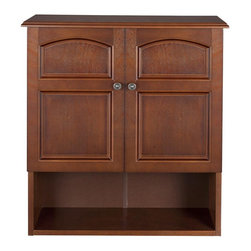 Elegant Home Fashions - Martha Wall Cabinet 2 Doors - The Martha Wall Cabinet from Elegant Home Fashions features a beautiful mahogany wood veneer in a salvage wood finish. The classic arch design enhances the classic look of this piece. It provides ample space with one fixed and one adjustable shelf to store various daily necessities.