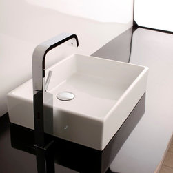 """WS Bath Collections - Unlimited 19.7"""" Vessel Sink - Unlimited 50A by WS Bath Collections, 19.7"""" x 14.8"""" x 4.5"""" H, Vessel Sink in Ceramic White, without Faucet Hole,  Without Overflow, Recommended Trap, Linea 53922 (Optional), Made in Italy"""