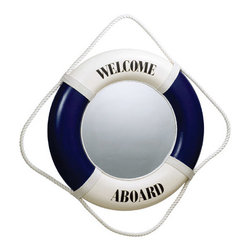 "Blue/White Welcome Aboard Life Ring Mirror - The blue/white welcome aboard life ring mirror measures 20""Dia. It has a fisherman's rope around the outside for a more authentic look and for easy hanging. It will add a definite nautical touch to wherever it is placed and is a must have for those who appreciate high quality nautical decor. It makes a great gift, impressive decoration and will be admired by all those who love the sea."