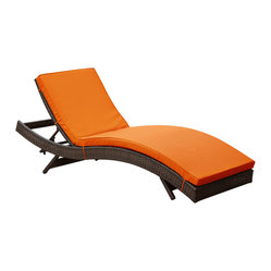 Peer Outdoor Wicker Chaise Lounge Chair in Brown Rattan and Orange