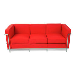 "IFN Modern - Le Corbusier LC2 Style Sofa-Red - 100% Italian Leather - Created by one of the most well-known Swiss-French architects Le Corbusier (Charles-Edouard Jeanneret-Gris), the LC line is Le Corbusier's successful effort at fusion of urban style with the industrial steel age as a breakthrough to modernism. Like a cushion cradle, the LC Reproduction line boasts a unique, stylish and attention-grabbing externalized frame that holds the cushions like little baskets. Originally designed for the Maison la Roche in Paris as part of Le Corbusier's 2 projects, the final product of chrome-plated tubular steel chairs have now become an iconic timeless collection imbued with elegance and class. As a specialized manufacturer of famous mid-modern designer furniture, the LC Line Reproduction by IFN Modern also reflects these qualities not only in terms of classy and elegant appearance but also in utmost care in details such using premium construction material in 100% full grain leather and solid stainless steel. This collection features:1. A cushioned sofa/""bed"" to comfortably fit 3 people or for a relaxing lay after a day's of work.2. Signature look of externalized steel frame 3. Plush cushions that stay in shape to cradle the contours of the delicate body for a perfect fit and comfortable session. 4. Back to front to bottom, side to side fully upholstered in full grain Italian/Aniline leather5. Hassle-free maintenance from easily detachable cushions from frame 6. Functionally elegant piece sofa/bed piece • Product is upholstered in 100% Full Grain Italian Leather, 100% Full Grain Aniline Leather or Fabric • Variety of colors available• Long lasting durability and strength with high grade solid stainless polished steel frame resistant to chipping/rusting.• Silky smooth corners from detailed welding, grinding and sanding• Balanced stability on all surfaces with adjustable floor-leveling footcaps• Plush cushions that stay in shape for short-long sessions comfort with high density injected foam."