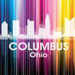Columbus Vertical Lined Rainbow Print - Best known for its state university, Wendy's and White Castle Hamburgers, this Ohio city shines bright in a rainbow of color. Show off a little city pride with the digital and photographic layers on this mixed-media art.