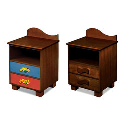 "Room Magic - Boys Like Trucks Nightstand, Chocolate - This attractive quality nightstand made with solid hard wood has a wave shaped back piece, and storage shelf for stowing all your childrens favorite storybooks and toys. Two drawers have reversible drawer fronts that have a colorful stain finish on one side and and Chocolate finish on the other, allowing you to easily change the look when your child outgrows the colorful stains. Includes 2 waves knobs and 2 adorable truck knobs.  18""L x 16""D x 29""H"