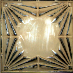 """Deco Tin Wall Plaque - 24""""x24"""" - This eclectic pressed tin wall plaque is reminiscent of art deco inspired architecture that can still be seen today on a stroll down Wilshire Boulevard. Bring the beauty of 1920s Beverly Hills to your palace and add the perfect splash of drama to any room. With the deep contrasting colors and sharp linear symmetry, this pressed tin plaque is a throwback to the elegance and glamour of 1920s Hollywood. Beautiful for solo display or in a group."""