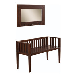 Simpli Home - Greyson 44 inch wide Entryway Bench & Matching Mirror in Dark Tobacco Brown - There is much to be said about designing the perfect entrance to your home.  We feel that choosing the right bench or bench and mirror combo is essential. We designed the Greyson Bench and Mirror your design vision in mind. This impactful bench with its slightly Asian feel, is both comfortable and practical allowing two people to sit. The matching mirror with storage hooks allow you to hang coats, hats and umbrellas and let do a final check in the mirror before stepping out the door.