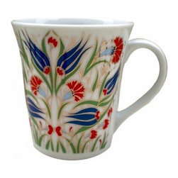 Grande - Turkish Porcelain Tea and Coffee Mug, Gold Accented Floral, Style 1 - Tea and coffee mug made of white porcelain with vivid, colorful Turkish floral pattern outlined with luminous gold.  Pattern is on both sides of the cup and you'll like the feel of the wider flat handle.  Make your morning coffee or afternoon tea time an aesthetic and pleasurable experience.  Tea or coffee mug holds 7.5 ounces.