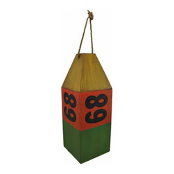 Wooden Antiqued `68` Buoy Nautical Decor Green/Red/Yellow - This fantastic buoy has an authentic look that will greatly compliment any nautical theme decorations. Made from wooden panels, the buoy measures 16 1/2 inches tall, 6 inches wide, and 6 inches long. The distressed red, green, and yellow painted finish speaks of a long career upon the high seas. The maritime instrument features the identification number `68` printed in black upon each side. A rope loop through the top of the buoy allows it to hang from any wall or ceiling hook. This piece makes a great addition to any nautical collection and will surely keep your nautically-themed room afloat.