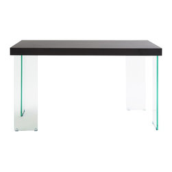 Eurø Style - Cabrio Wenge Desk - With smooth wenge surface, the Cabrio Wenge Desk is visually striking and unique. The all tempered glass legs are a very smart twist making the table a stand out. When facing the table from any side, one of the legs shows a wide stance, while the other looks narrow. An absolutely essential design statement that is very smart and appealing.