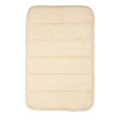 Living Healthy Products - Bathroom Memory Foam Mat 17x24 (Small) - Cream - Treat your feet to this luxurious bath mat in great designer colors.  The non-slip backing will ensure a safe exit out of the tub or shower; no more chasing your mat around the bathroom.   Stepping out of the shower or brushing your teeth in front of the mirror, this Memory Foam Bath Mat is a comforting friend to your feet.  The microfiber exterior can absorb four times its weight in water - great for splashes from the bathtub - while the memory foam interior provides comfort to your feet when standing.  A loop on the end allows you to hang the bathroom rug up to dry.  The fast drying mat folds easily for storage and is machine washable for convenient cleaning.