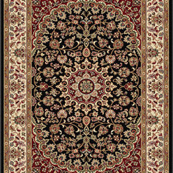 Tayse Rugs - Elegance Black and Blue Rectangular: 5 Ft. x 7 Ft. Rug - - The detailed oriental medallion design of this area rug make a statement of elegance to any room. Soft polypropylene fibers make it soft, warm, and easy to clean. Rich hues of black, gold, red and ivory. Vacuum and spot clean.  - Square Footage: 35  - Pattern: Oriental  - Pile Height: 0.39-Inch Tayse Rugs - 5393  Black  5x7