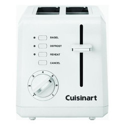 Cuisinart/Waring - Compact Toaster White - Smaller than standard 2-slice toasters. Streamlined and specially designed to sit sideways or face forward on kitchen counters. The LED touchpad controls and a 9-setting LED backlit browning dial are within easy reach either way. Features touchpad controls: Cancel, Defrost, Bagel, and High-Rise Carriage. Slide-out crumb tray.