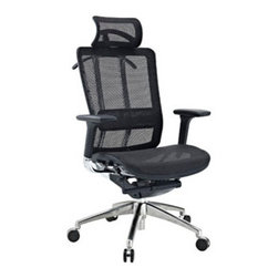 "LexMod - Future Office Chair in Black - Future Office Chair in Black - Welcome to the Future chair, a fully-featured ergonomic chair at a price you can afford. Future comes complete with a durable mesh seat and back to keep you cool, a waterfall seat to ease pressure on your thighs, and an adjustable lumbar support to alleviate lower back pain. The armrests adjust both in height and depth to help position your elbows properly while typing. The headrest is fully adjustable and theres also a tension knob to adjust the chair tilt. Future even comes with a hanger to hold your jacket! This is a chair made to take you well into the future. Set Includes: One - Future Office Chair with Headrest Pivoting Arms, Fully Adjustable Headrest, Adjustable Seat Depth, Adjustable Lumbar Support, Recline at any Angle, Backrest Hanger Overall Product Dimensions: 27""L x 26""W x 47 - 50.5""H Seat Dimensions: 20""L x 19.5""W x 19.5 - 23""H Armrest Height: 27.5 - 31""H - Mid Century Modern Furniture."