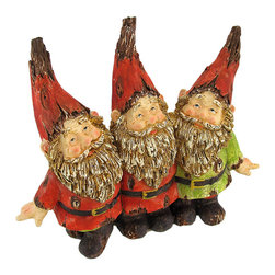 Wooden Look Gnome Buddies Garden Accent - Add an adorable accent to your garden, porch, or patio with this gnome statue. Made of cold cast resin, it measures 8 3/4 inches tall, 10 1/4 inches long, and 3 inches wide. This piece is designed to look as though it has been carved from wood, and has a weathered crackle finish. This happy trio of gnome buddies is sure to be admired, and makes a great gift for a friend or neighbor.
