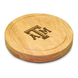 "Picnic Time - Texas A&M Circo Cheese Board - The Circo by Picnic Time is so compact and convenient, you'll wonder how you ever got by without it! This 10.2"" (diameter) x 1.6"" circular chopping board is made of eco-friendly rubberwood, a hardwood known for its rich grain and durability. The board swivels open to reveal four stainless steel cheese tools with rubberwood handles. The tools include: 1 cheese cleaver (for crumbly cheeses), 1 cheese plane (for semi-hard to hard cheese slices), 1 fork-tipped cheese knife, and 1 hard cheese knife/spreader. The board has over 82 square inches of cutting surface and features recessed moat along the board's edge to catch cheese brine or juice from cut fruit. The Circo makes a thoughtful gift for any cheese connoisseur!; College Name: Texas A&M; Mascot: Aggies; Decoration: Laser Engraving; Includes: 1 Hard cheese knife, 1 Cheese shaver, 1 Fork-tipped cheese knife, 1 Cheese spreader"