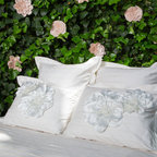 Crane & Canopy Floral Belles Bedding and Duvet Covers - Create a bedding set that is one-of-a-kind and forever changing, by adorning your bedding with the most ethereal fabric flower pins, Floral Belles.