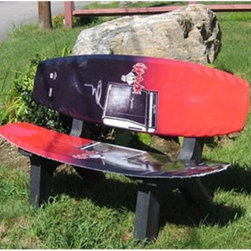 Skichair Wake Board Bench Black and Red - In the rare event that you want to spend some down-time on dry land, split the difference and kick back on the Wake Board Bench Black and Red. A cedar frame supports a pair of actual wakeboards that are used to create the bench seat and back of this eye-catching outdoor piece. Wakeboards are already water-proof, so they make the perfect all-weather seat. The cedar frame has a black finish and incorporates rust-proof stainless steel hardware. If you notice a bit of wear or slight variances when your order gets to you, please be aware that this is intentional and should not be considered an incorrect shipment.About SkiChairSkiChair reflects the passion that the founders and the customers both have for the outdoors and their pursuit of relaxation. Using recycled materials, SkiChair manufactures products that recycle and repurpose anything from snowboards to golf clubs and water skis, with a goal of recycling over 50,000 skis, boards, bats, sticks and clubs each year.