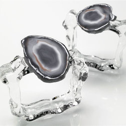 Aleotto Napkin Rings, Smoke - These agate napkin rings are sure to set your table apart on any holiday, or just Tuesday.
