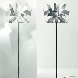 """Pallucco - Glow floor lamp - Product Details:   The Glow floor lampfrom Pallucco has been designed by Enrico Franzolini and Vicente Garcia Jimenezin 2005. This floormounted luminaire is great for halogen lighting. The Glowis constructed of a whichlampshade comes in different versions: semi-gloss painted metal in a choice of red, white or ablack finish; transparent gloss painted and natural satin finish aluminium; matt transparent painted burnished and brushed brass.Both the stem and base can be made from polished chromed steel or painted in a semi-gloss anthracite color (deep grey),or red. Lamps with a white shade are teamed with a polished chrome stem and base, while an anthracite color is used with the other finishes. The Glow floor lampexhibits an exoticand detaileddesign, along with quality craftsmanship, that is sure tobrilliantlybrighten any contemporary setting.  Details:                                              Manufacturer:                                           Pallucco                                                              Designer:                                          Enrico Franzolini and VincenteGarcia Jimenez                                                              Made in:                                          Italy                                                              Dimensions:                                           Height: 72.4""""(184cm)Width: 13.8""""(35 cm)                                                              Light bulb:                                           1 X 250W halogen                                                              Material:                                           Metal"""