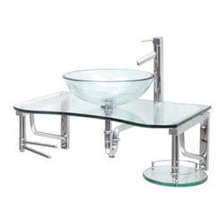 Renovator's Supply - Glass Sinks Glass/Stainless Pratico Wall Mount Vessel Glass Sink - Glass Sinks: the Practico wall mount tempered glass vessel sink package comes complete with faucet, drain, and p-trap. See site for detailed product measurements and information.
