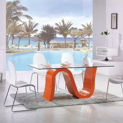 Nero Dining Table - The Nero Dining table has a serpent shaped base that comes in orange or white lacquer.  Top is 12mm clear glass.  Chairs sold separately.
