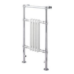 "Hudson Reed - Marquis Traditional Hydronic Towel Warmer Radiator Rail 18.3"" x 36.8"" & Valves - Constructed from durable, non-ferrous brass, with a high quality chrome finish, this hydronic towel warmer features three horizontal bars, giving an impressive heat output of 439 Watts. 10 year guarantee. Floor mounted, featuring  horizontal bars for drying towels, this traditional radiator brings a touch of class to any modern or period-style bathroom, en-suite or cloakroom suite. The 18.3"" x 36.8"" heated traditional towel radiator connects to your closed loop heating system via the Hudson Reed radiator valves, included in the price."