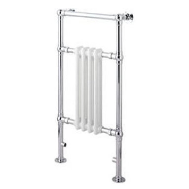 """Hudson Reed - Marquis Traditional Hydronic Towel Warmer Radiator Rail 18.3"""" x 36.8"""" & Valves - Constructed from durable, non-ferrous brass, with a high quality chrome finish, this hydronic towel warmer features three horizontal bars, giving an impressive heat output of 439 Watts. 10 year guarantee. Floor mounted, featuring  horizontal bars for drying towels, this traditional radiator brings a touch of class to any modern or period-style bathroom, en-suite or cloakroom suite. The 18.3"""" x 36.8"""" heated traditional towel radiator connects to your closed loop heating system via the Hudson Reed radiator valves, included in the price."""