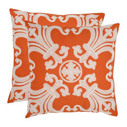 Safavieh - Safavieh Collette 18-inch Orange Decorative Pillows (Set of 2) - You don't have to be of royal blood to enjoy the heraldry of these two bright orange decorative pillows. Fine fleur de lis patterns have been added with cotton embroidery for an elegant look,but the bold color makes the set quite contemporary.