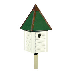 Heartwood - Gatehouse Bird House sWhitewash - This  beautiful  birdhouse  is  the  perfect  addition  to  any  home  or  garden  of  your  choice.  With  beaded  edge  drop  siding  in  select  cypress  milled  to  scale,  this  is  sure  to  wow  any  visitors  or  company.  Full  copper  trim  and  roof  cap  crown  this  glory,  while  the  copper  clean-out  door,  excellent  ventilation  and  drainage  make  for  long-lasting  delight  and  convenience.This  bird  house  is  one  you  are  sure  to  enjoy  in  the  years  to  come.  Available  in  several  colors.                  7x7x15              1-3/8  hole              Available  in  celery,  smoke  grey,  white  and  redwood              Handcrafted  in  USA  from  renewable,  FSC  certified  wood