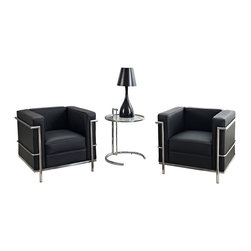 Modway - Modway EEI-880 Charles Petite 3 Piece Sofa Set in Black - Urban life has always a quandary for designers. While the torrent of external stimuli surrounds, the designer is vested with the task of introducing calm to the scene. From out of the surging wave of progress, the most talented can fashion a forcefield of tranquility.