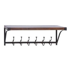 """Benzara - Wall Shelf Hook with Single Top Storage Space - Wall Shelf Hook with Single Top Storage Space. This wall shelf has a single top storage space that allows you to safely display a variety of decor pieces or essential items in a neat, orderly manner. It comes with the following dimensions: 39"""" W x 10"""" D x 13"""" H."""