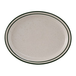 Tuxton - 11 1/2 x 9 1/8 Oval Platter Narrow Rim in White with Green Speckles - Case of 12 - The harmony of the forest green speckle with the band and line create a framework for every culinary arrangement. The added value of durability makes this collection irresistible.