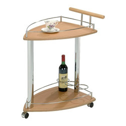 K & B Furniture - Kitchen Serving Cart - Natural / Chrome - SC-5068 - Shop for Carts from Hayneedle.com! The Kitchen Serving Cart Natural / Chrome has a unique shape that gives it the look of a ship loaded with a bountiful feast coming into your harbor or at least that's what we think you can certainly let your imagination run wild with this creative multi-functional server. The caddy's distinctive shape is made up of solid wood and chrome-finished metal accents in a two-tier design with built-in wine rack for even greater convenience. You'll be able to take appetizers drinks glasses plates and more out of the corner and directly to the people with this gorgeous serving cart! About K&B FurnitureThe most attractive furnishings can be found at the most affordable price through K&B Furniture. Founded more than a half-century ago K&B Furniture has grown into one of the leading wholesalers with a vast catalogue that includes everything from bedroom sets living room sets formal and casual dining sets entertainment centers and much more. Only the best woodworkers artisans and designers carve stain and polish every piece which is made from high-quality materials inspected at every stage of production. There isn't a style that can't be found in stock and K&B Furniture's convenient and expedient ordering process is as user-friendly as it gets with a knowledgeable customer service department ready to lend their advice and assistance.