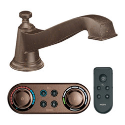 """Moen - Moen T9221ORB Oil Rubbed Bronze Roman Tub Trim Including IODigital Technology - Moen T9221ORB is part of the Rothbury bath collection. Moen ioDigital T9221ORB has an Oil Rubbed Bronze finish. Moen T9221ORB is a Roman Tub trim 1-hole installation, with 5.863"""" high and 8.141"""" long low-arc spout for conventional styling. Moen T9221ORB Roman Tub trim includes 3 programmable presets ioDigital technology puts you in control of precise temperature, flow and custom presets. Also includes child safety lock/unlock. Optional remote control ranges up to 30 feet with auto top off. Sold separately. Moen T9221ORB Roman Tub trim requires Moen 4994 valve, 4998 spout shank and T3490 series controller. Sold separately. Oil Rubbed Bronze is an exclusive finish from Moen and provides style and durability. Moen T9221ORB meets ASME A112.18.1/CSA B-125.1, CSA B125.3, and ASSE1070 Digital controller meets UL195"""". Digital controller and remote meets FCC part 15. Lifetime Limited Warranty and 5 Year commercial on finish and defects. 5 year on consumer and 1 year on commercial on digital components"""