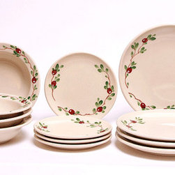 Cranberry Dinnerware Set - Handpainted and handcrafted, the Cranberry Dinnerware Set is 100% lead free, oven proof, dishwasher and microwave safe.