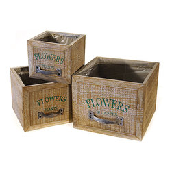 VIP International - Wood Drawer Box Planters Set - Creatively showcase treasured blooms with these snazzy wooden box planters.   Includes three boxes Largest planter: 7.75'' W x 7.5'' H x 6.5'' D Wood / iron Imported