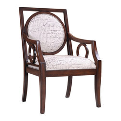 Madison Park - Madison Park Sienna Round Medallion Exposed Wood Arm Chair - This hand carved, exposed wood accent chair with its round detailing on arms and back combined with its rich, espresso finish makes it a sophisticated contemporary statement. Some assembly required. Wood Finish: Mocha Material: Hand Carved Birch Hardwood Frame Fabrication: 100% Polyester Filling: High Density Foam