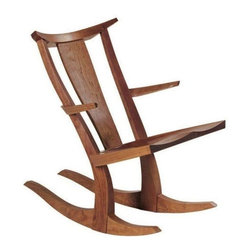 Used Thos Moser Edo Rocker - A contemporary interpretation of the classic wooden rocking chair! This gorgeous solid cherry wood rocker is a signed piece. Purchased in 2008 from Thos Moser, it's only had one owner and is in near perfect condition.