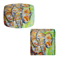 DiaNoche Designs - Ottoman Foot Stool  - Wild Elephant - Lightweight, artistic, bean bag style Ottomans. You now have a unique place to rest your legs or tush after a long day, on this firm, artistic furtniture!  Artist print on all sides. Dye Sublimation printing adheres the ink to the material for long life and durability.  Machine Washable on cold.  Product may vary slightly from image.