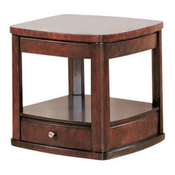 """Coaster - End Table (Cherry) By Coaster - This beautiful end table will give your living room a sophisticated look that you will love. This elegant piece has a warm dark wood finish, showing off a radiant wood grain"""" The table top features a smooth gently curved edge, above classic shaped legs. A lower shelf is ideal for decorative items, with a drawer below to keep clutter out of sight. A simple brushed metal knob is the perfect finishing touch to this understated contemporary end table. Add this beautiful table to your living room for a warm and elegant style. The Evans collection will give your contemporary living room a sophisticated touch of style. These occasional tables have sleek cases, with gently curved sides and shaped legs. The timeless style is both classic and modern, in a deep dark wood finish accented by simple brushed metal knobs. Spacious shelves and drawers add function to the tables, for both storage and display, while convenient lift top cocktail table tops makes these pieces a must-have for your home. Create a warm and elegant living room with the Evans collection. Features: Cherry Finish Wood construction Storage drawers Brushed metal hardware Specifications: 27""""W x 24""""D x 24""""H"""