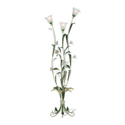 "Meyda Tiffany - Meyda 68""H Symphony Jonquil 3-Light Torchiere - Bring a beautiful garden into your home with White Frosted glass floral shades that wind around a White and Green speckled enamel-finished steel frame. Luscious Jonquil glass flowers and Green leaves will grace any home or space."