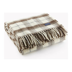 Faribault Woolen Mill Co. - Hatchet Plaid Wool Throw, Natural/Mahogany/Silver - Some of our favorite designs come from our Faribault Woolen Mill archive. We re-imagined a 1960's pattern in our Hatchet Plaid Throw - one that carries a memorable aesthetic that is re-colored and re-mastered for modern use. Permanently moth-proofed.