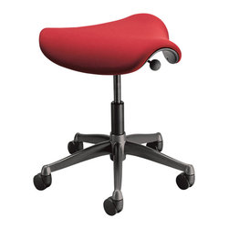 Humanscale - Pony Saddle-Seat Stool - You're back in the saddle again. This rolling stool is height-adjustable and comes with a bright red padded and contoured seat. Proponents of this shape say it helps keep backs healthier, so you'll be free to ride the range — or at least the office — once more.