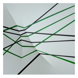 Eight Lines, Original, Painting - This acrylic on canvas painting has a custom made frame with two curved protrusions pushing the canvas forward.