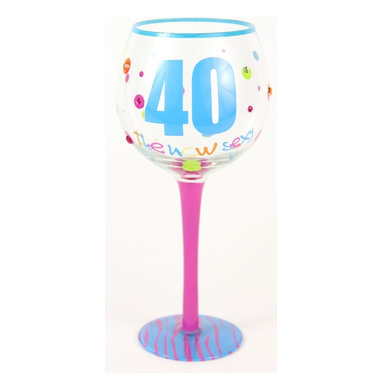 Hand Painted Milestone 40th Birthday Wine Glass, Holds 18 Oz - In A Gift Box - Hand Painted Milestone Glasses will make your birthday celebration special and chic !