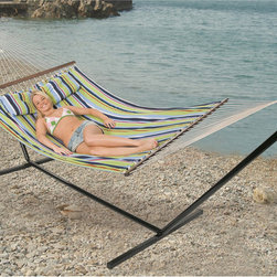 StanSport - 'Antigua' Double Cotton Hammock and Stand - Relax in comfort and style with this beautiful 'Antiqua' double-cotton hammock. Made with two layers of padded cotton for maximum comfort with beautiful bright Caribbean colors, this hammock is complete with headrest pillow and hardwood spreader bars.