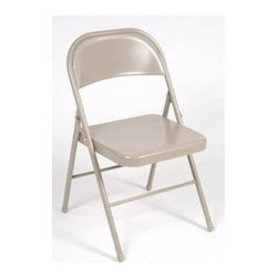 Cosco Office - Steel Folding Chair - Set of 4 - Set of 4. Essential for entertaining. Folds flat and up tight and compact for easy storage. Low maintenance. Strong use of cross brace and tube-in-tube reinforced frame. Saves space and time with folding frame. Comfort contoured seat and back. Non-marring - leg tip protects floor surface. Durable steel frame with powder-coated finish. Warranty: One year. Antique linean color. 18.25 in. W x 19 in. D x 30 in. H (7.58 lbs.)