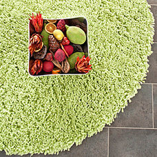 Rugs Hand-woven Bliss Lime Green Shag Rug (4' Round)