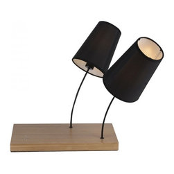 ParrotUncle - Black Fabric Shade 2 Lights Wooden Base Table Lamp - Black Fabric Shade 2 Lights Wooden Base Table Lamp