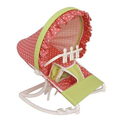 Hoohobbers - Hoohobbers Daisy Rocking Infant Rocker Seat Multicolor - 271-37 - Shop for Rocking Toys from Hayneedle.com! Daisies on a red apple background and accented with lime make the Hoohobbers Daisy Rocking Infant Rocker Seat the perfect seat for any little girl. Designed to cradle your baby like a mother's arms this rocker has a deep soft sling which surrounds and fully cradles your baby. Your baby will be able to create a smooth gentle and calming rocking motion while moving helping her to calm herself. A removable toy bar with spinning characters will help to keep her entertained as she sits in the rocker. Its smooth solid frame locks to help keep your baby safe while the stabilizing feet prevents tipping. Its protective hood helps to block light and drafts to keep your baby comfortable. Its water safe machine washable fabric is easy to clean so you don't have to worry about accidents and spills. Simply fold this rocker up when you're on the go and bring it with you wherever you're traveling. Additional Features Baby calms self with gentle rocking motion 4 lbs rocker folds for easy transportation Removable toy bar with spinning toys Solid smooth frame which locks Stabilizing feet helps keep baby safe Protective hood helps block light and drafts About HoohobbersBased in Chicago Hoohobbers has designed and manufactured its own line of products since 1981 beginning with the now-classic junior director's chair. Hoohobbers makes both hard goods (furniture) and soft goods. Hoohobbers' hard goods are not your typical furniture products; they fold are lightweight and portable and are made to be carried by children all around the house. Even outdoors Hoohobbers' hard goods are 100 percent water-safe. At the same time they are plenty durable and can take the abuse children often give. Hoohobbers' soft goods are fabric items ranging from bibs to bedding from art smocks to Moses baskets. Hoohobbers' products are recognized by independent third parties for their quality and performance. Hoohobbers has received Best Design Awards from America's Juvenile Products Association each time selected from more than 20 000 products. Hoohobbers has also received the Parents' Choice Award and no Hoohobbers product has ever been subject to consumer recall. Furthermore the company's products are often featured in leading women's and children's publications.
