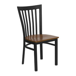 Flash Furniture - Flash Furniture Hercules Series Black School House Back Metal Restaurant Chair - Provide your customers with the ultimate dining experience by offering great food, service and attractive furnishings. This heavy duty commercial metal chair is ideal for restaurants, hotels, bars, lounges, and in the home. Whether you are setting up a new facility or in need of a upgrade this attractive chair will complement any environment. This metal chair is lightweight and will make it easy to move around. This easy to clean chair will complement any environment to fill the void in your decor. [XU-DG6Q4BSCH-CHYW-GG]